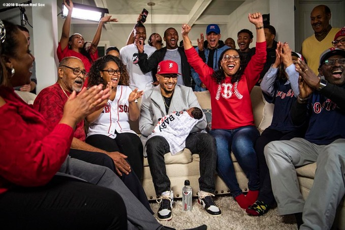 NASHVILLE, TN - NOVEMBER 15: Mookie Betts #50 of the Boston Red Sox reacts with family as he is announced as the 2018 American League Most Valuable Player on November 15, 2018 in Nashville, Tennessee. (Photo by Billie Weiss/Boston Red Sox/Getty Images) *** Local Caption *** Mookie Betts