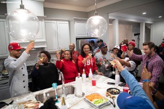 NASHVILLE, TN - NOVEMBER 15: Mookie Betts #50 of the Boston Red Sox has a toast with family during the 2018 American League Most Valuable Player announcement on November 15, 2018 in Nashville, Tennessee. (Photo by Billie Weiss/Boston Red Sox/Getty Images) *** Local Caption *** Mookie Betts