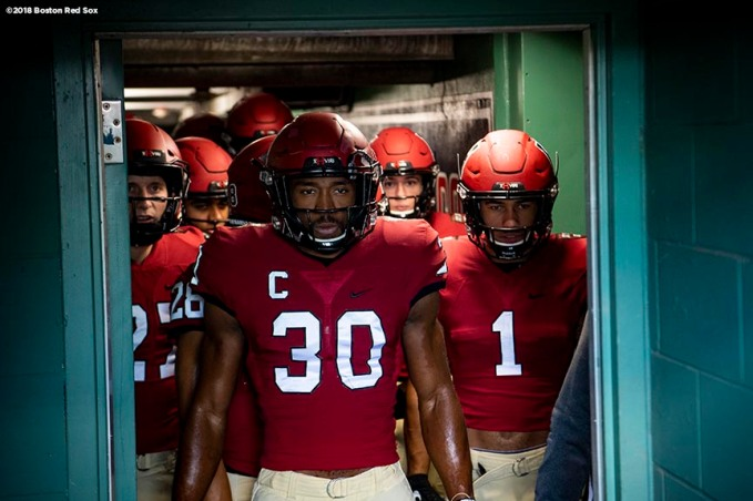 BOSTON, MA - NOVEMBER 17: Zach Miller #30 of the Harvard Crimson looks on from the tunnel before a game against the Yale Bulldogs on November 17, 2018 at Fenway Park in Boston, Massachusetts. (Photo by Billie Weiss/Boston Red Sox/Getty Images) *** Local Caption *** Zach Miller