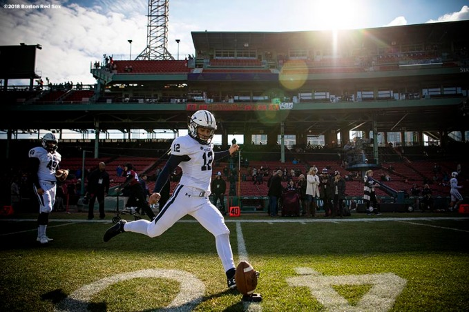 BOSTON, MA - NOVEMBER 17: Ajay Culhane #12 of the Yale Bulldogs warms up before a game against the Harvard Crimson on November 17, 2018 at Fenway Park in Boston, Massachusetts. (Photo by Billie Weiss/Boston Red Sox/Getty Images) *** Local Caption *** Ajay Culhane