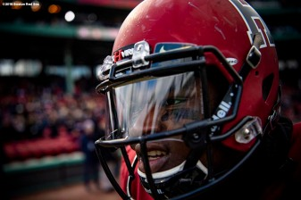 BOSTON, MA - NOVEMBER 17: A member of the Harvard Crimson looks on before a game against the Yale Bulldogs on November 17, 2018 at Fenway Park in Boston, Massachusetts. (Photo by Billie Weiss/Boston Red Sox/Getty Images) *** Local Caption ***