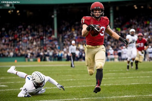 BOSTON, MA - NOVEMBER 17: Jack Cook #83 of the Harvard Crimson reacts as he scores a touchdown during a game against the Yale Bulldogs on November 17, 2018 at Fenway Park in Boston, Massachusetts. (Photo by Billie Weiss/Boston Red Sox/Getty Images) *** Local Caption *** Jack Cook