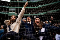 BOSTON, MA - NOVEMBER 17: Fans cheer during a game between the Yale Bulldogs and the Harvard Crimson on November 17, 2018 at Fenway Park in Boston, Massachusetts. (Photo by Billie Weiss/Boston Red Sox/Getty Images) *** Local Caption ***