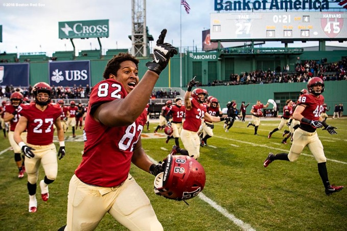 BOSTON, MA - NOVEMBER 17: Members of the Harvard Crimson react after defeating the Yale Bulldogs during a game on November 17, 2018 at Fenway Park in Boston, Massachusetts. (Photo by Billie Weiss/Boston Red Sox/Getty Images) *** Local Caption ***