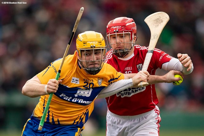 BOSTON, MA - NOVEMBER 18: Cork faces Clare in a match during the Fenway Hurling Classic on November 18, 2018 at Fenway Park in Boston, Massachusetts. (Photo by Billie Weiss/Boston Red Sox/Getty Images) *** Local Caption ***
