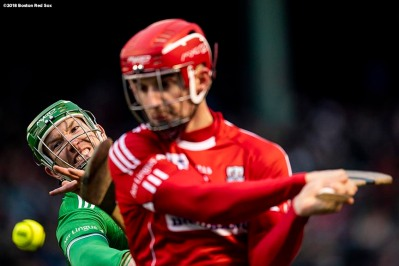 BOSTON, MA - NOVEMBER 18: Cork faces Limerick in a match during the Fenway Hurling Classic on November 18, 2018 at Fenway Park in Boston, Massachusetts. (Photo by Billie Weiss/Boston Red Sox/Getty Images) *** Local Caption ***
