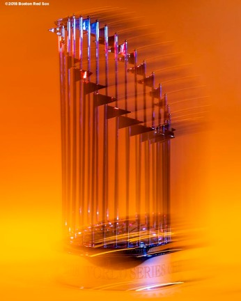 BOSTON, MA - NOVEMBER 26: The Boston Red Sox 2018 World Series trophy is displayed on November 26, 2018 at Fenway Park in Boston, Massachusetts. (Photo by Billie Weiss/Boston Red Sox/Getty Images) *** Local Caption ***