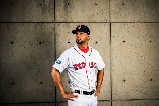 September 11, 2018, Boston, MA: Boston Red Sox shortstop Xander Bogaerts poses for a portrait for Fanatics at Fenway Park in Boston, Massachusetts Tuesday, September 11, 2018. (Photo by Billie Weiss/Fanatics)
