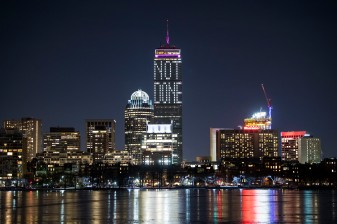 February 3, 2018, Cambridge, MA: The Prudential Center displays a 'Not Done' message on the night before Super Bowl 52 between the New England Patriots and the Philadelphia Eagles in Boston, Massachusetts Saturday, February 3, 2018. (Photo by Billie Weiss)