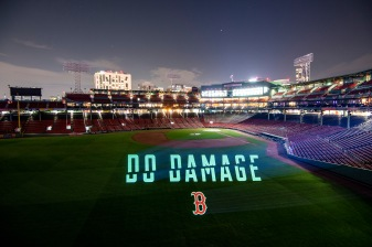 BOSTON, MA - OCTOBER 4: A Boston Red Sox Do Damage logo is projected onto the field Fenway Park on October 4, 2018 in Boston, Massachusetts. (Photo by Billie Weiss/Boston Red Sox/Getty Images) *** Local Caption ***