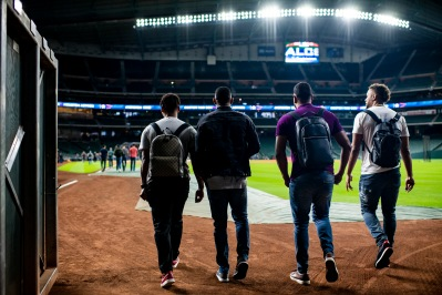 HOUSTON, TX - OCTOBER 15: Rafael Devers #11, Eduardo Nunez #36, Eduardo Rodriguez #57, and Xander Bogaerts #2 of the Boston Red Sox arrive during a workout before game three of the American League Championship Series against the Houston Astros on October 15, 2018 at Minute Maid Park in Houston, Texas. (Photo by Billie Weiss/Boston Red Sox/Getty Images) *** Local Caption *** Xander Bogaerts; Rafael Devers; Eduardo Nunez; Rafael Devers