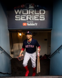 LOS ANGELES, CA - OCTOBER 28: Mookie Betts #50#16 of the Boston Red Sox walks into the dugout before game five of the 2018 World Series against the Los Angeles Dodgers on October 28, 2018 at Dodger Stadium in Los Angeles, California. (Photo by Billie Weiss/Boston Red Sox/Getty Images) *** Local Caption *** Mookie Betts