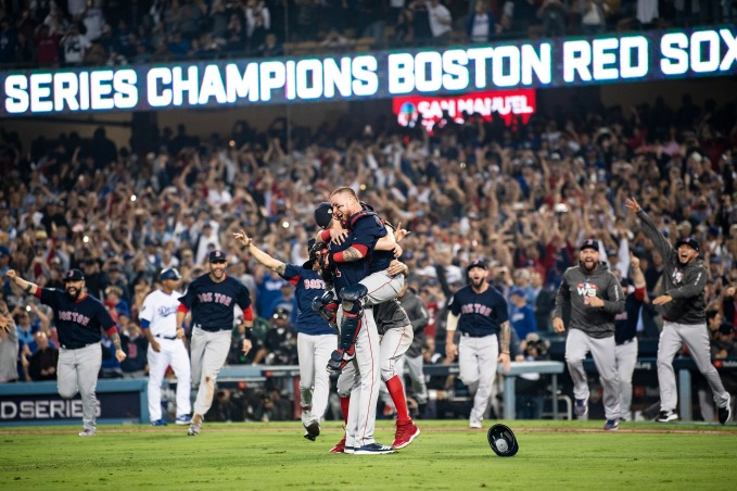 LOS ANGELES, CA - OCTOBER 28: Chris Sale #41 and Christian Vazquez #7 of the Boston Red Sox react after the final out was recorded to win the 2018 World Series in game five against the Los Angeles Dodgers on October 28, 2018 at Dodger Stadium in Los Angeles, California. (Photo by Billie Weiss/Boston Red Sox/Getty Images) *** Local Caption *** Chris Sale; Christian Vazquez