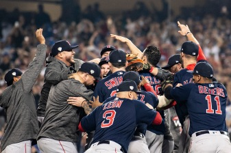 LOS ANGELES, CA - OCTOBER 28: Members of the Boston Red Sox react with Chris Sale #41 after the final out was recorded to win the 2018 World Series in game five against the Los Angeles Dodgers on October 28, 2018 at Dodger Stadium in Los Angeles, California. (Photo by Billie Weiss/Boston Red Sox/Getty Images) *** Local Caption *** Chris Sale