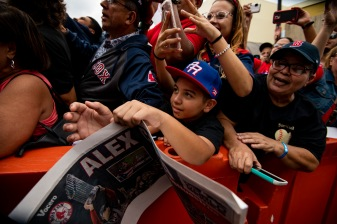 CAGUAS, PUERTO RICO - NOVEMBER 3: Fans cheer during a World Series parade during a Boston Red Sox trip from Boston, Massachusetts to Caguas, Puerto Rico on November 3, 2018 after the Boston Red Sox 2018 World Series victory. (Photo by Billie Weiss/Boston Red Sox/Getty Images) *** Local Caption ***