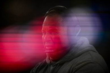 FOXBOROUGH, MA - DECEMBER 02: (EDITORS NOTE: Multiple exposures were combined in-camera to produce this image.) Head coach Bill Belichick of the New England Patriots looks on during the second half against the Minnesota Vikings at Gillette Stadium on December 2, 2018 in Foxborough, Massachusetts. (Photo by Billie Weiss/Getty Images)