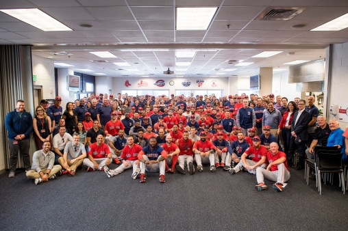 FT. MYERS, FL - FEBRUARY 19: Members of the Boston Red Sox and staff pose for a group photograph during a team meeting before a team workout on February 19, 2018 at jetBlue Park at Fenway South in Fort Myers, Florida . (Photo by Billie Weiss/Boston Red Sox/Getty Images) *** Local Caption ***