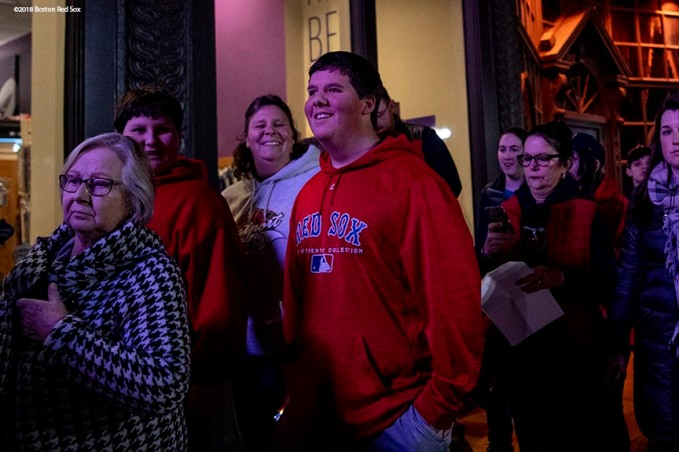 December 3, 2018, Boston, MA: Fans line up during the premiere of the 2018 Boston Red Sox World Series DVD film at the Emerson Colonial Theatre in Boston, Massachusetts Monday, December 3, 2018. (Photo by Billie Weiss/Major League Baseball)