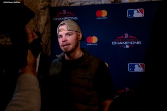 December 3, 2018, Boston, MA: Boston Red Sox infielder/outfielder Brock Holt is interviewed during the premiere of the 2018 Boston Red Sox World Series DVD film at the Emerson Colonial Theatre in Boston, Massachusetts Monday, December 3, 2018. (Photo by Billie Weiss/Major League Baseball)