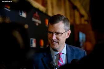 December 3, 2018, Boston, MA: Boston Red Sox President & CEO Sam Kennedy is interviewed during the premiere of the 2018 Boston Red Sox World Series DVD film at the Emerson Colonial Theatre in Boston, Massachusetts Monday, December 3, 2018. (Photo by Billie Weiss/Major League Baseball)