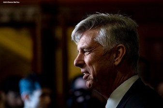 December 3, 2018, Boston, MA: Boston Red Sox President of Baseball Operations Dave Dombrowski is interviewed during the premiere of the 2018 Boston Red Sox World Series DVD film at the Emerson Colonial Theatre in Boston, Massachusetts Monday, December 3, 2018. (Photo by Billie Weiss/Major League Baseball)