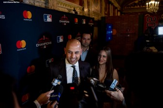December 3, 2018, Boston, MA: Boston Red Sox Manager Alex Cora is interviewed during the premiere of the 2018 Boston Red Sox World Series DVD film at the Emerson Colonial Theatre in Boston, Massachusetts Monday, December 3, 2018. (Photo by Billie Weiss/Major League Baseball)