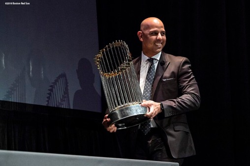 December 3, 2018, Boston, MA: Boston Red Sox Manager Alex Cora carries the 2018 World Series trophy during the premiere of the 2018 Boston Red Sox World Series DVD film at the Emerson Colonial Theatre in Boston, Massachusetts Monday, December 3, 2018. (Photo by Billie Weiss/Major League Baseball)