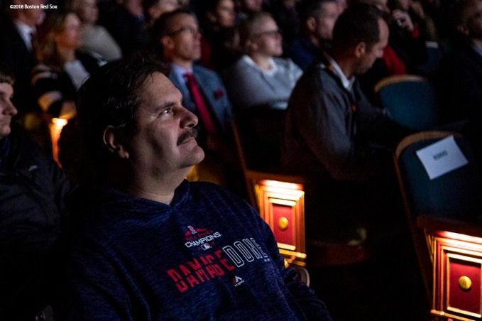 December 3, 2018, Boston, MA: A fan watches during the premiere of the 2018 Boston Red Sox World Series DVD film at the Emerson Colonial Theatre in Boston, Massachusetts Monday, December 3, 2018. (Photo by Billie Weiss/Major League Baseball)