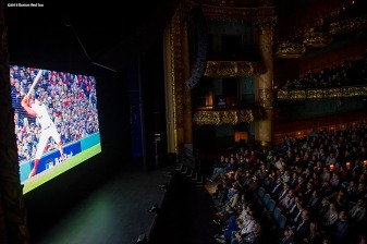 December 3, 2018, Boston, MA: Fans watch during the premiere of the 2018 Boston Red Sox World Series DVD film at the Emerson Colonial Theatre in Boston, Massachusetts Monday, December 3, 2018. (Photo by Billie Weiss/Major League Baseball)