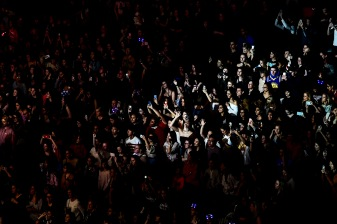 BOSTON, MA - DECEMBER 04: Fans react at KISS 108's Jingle Ball 2018 at TD Garden on December 4, 2018 in Boston, Massachusetts. (Photo by Billie Weiss/Getty Images)