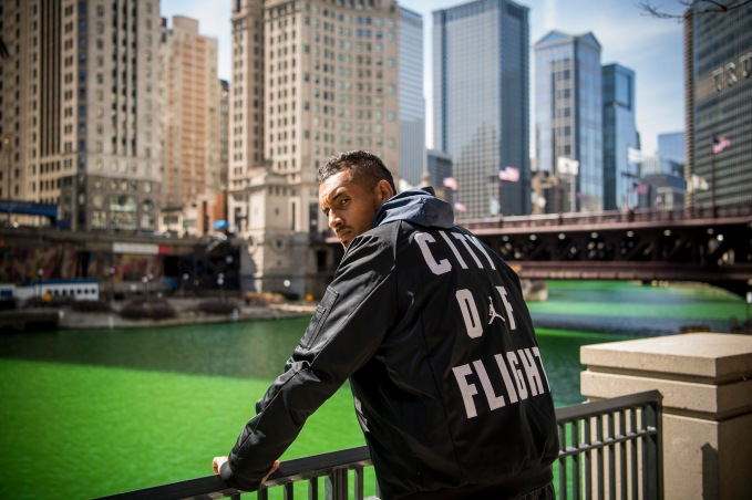 March 19, 2018, Chicago, IL: Australian World Number 20 tennis player Nick Kyrgios poses for a portrait in front of the Chicago River during a Laver Cup promotional event in Chicago, Illinois Monday, March 19, 2018. (Photo by Billie Weiss/Laver Cup)