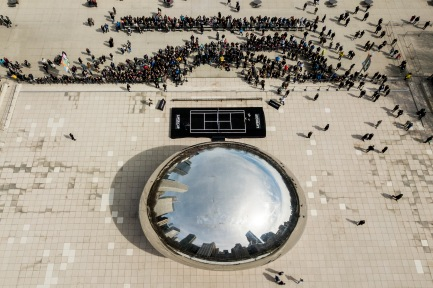 March 19, 2018, Chicago, IL: An aerial drone view of the court constructed in front of the Chicago Bean during a Laver Cup promotional event in Chicago, Illinois Monday, March 19, 2018. (Photo by Billie Weiss/Laver Cup)