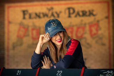 May 30, 2018, Boston, MA: Alaina Stipcak poses with a Boston Red Sox hat for Spahkld at Fenway Park in Boston, Massachusetts Wednesday, May 30, 2018. (Photo by Billie Weiss/Spahkld)