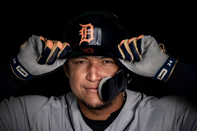 June 6, 2018, Boston, MA: Miguel Cabrera #24 of the Detroit Tigers poses for a portrait for Franklin Sports at Fenway Park in Boston, Massachusetts Wednesday, June 6, 2018. (Photo by Billie Weiss/Franklin Sports)