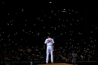 BOSTON, MA - JUNE 6:Fans shine the lights on their cell phones in the stands as Matt Barnes #32 of the Boston Red Sox looks on during the seventh inning of a game against the Detroit Tigers on June 6, 2018 at Fenway Park in Boston, Massachusetts. (Photo by Billie Weiss/Boston Red Sox/Getty Images) *** Local Caption *** Matt Barnes