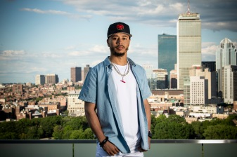 June 25, 2018, Boston, MA: Boston Red Sox right fielder Mookie Betts poses for a portrait on the roof of the Viridian building in Boston, Massachusetts Monday, June 25, 2018. (Photo by Billie Weiss/Boston Red Sox)