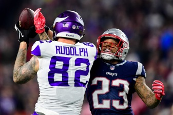 FOXBOROUGH, MA - DECEMBER 02: Patrick Chung #23 of the New England Patriots attempts to break up a pass to Kyle Rudolph #82 of the Minnesota Vikings during the first half at Gillette Stadium on December 2, 2018 in Foxborough, Massachusetts. (Photo by Billie Weiss/Getty Images)