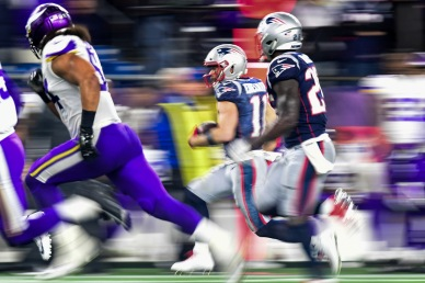 FOXBOROUGH, MA - DECEMBER 02: Julian Edelman #11 of the New England Patriots runs with the ball during the second half against the Minnesota Vikings at Gillette Stadium on December 2, 2018 in Foxborough, Massachusetts. (Photo by Billie Weiss/Getty Images)