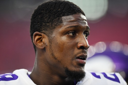 FOXBOROUGH, MA - DECEMBER 02: Xavier Rhodes #29 of the Minnesota Vikings looks on before the game against the New England Patriots at Gillette Stadium on December 2, 2018 in Foxborough, Massachusetts. (Photo by Billie Weiss/Getty Images) *** Local Caption *** Xavier Rhodes