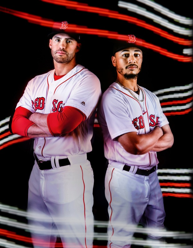 BOSTON, MA - JUNE 27: J.D. Martinez #28 and Mookie Betts #50 of the Boston Red Sox pose for a portrait on June 27, 2018 at Fenway Park in Boston, Massachusetts. (Photo by Billie Weiss/Boston Red Sox/Getty Images) *** Local Caption *** Mookie Betts; J.D. Martinez
