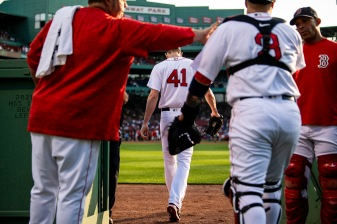 BOSTON, MA - JULY 11: Chris Sale #41 of the Boston Red Sox walks out of the bullpen before a game against the Texas Rangers on July 11, 2018 at Fenway Park in Boston, Massachusetts. (Photo by Billie Weiss/Boston Red Sox/Getty Images) *** Local Caption *** Chris Sale