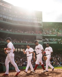 BOSTON, MA - AUGUST 4: Members of the Boston Red Sox walk off the field during the sixth inning of a game against the New York Yankees on August 4, 2018 at Fenway Park in Boston, Massachusetts. (Photo by Billie Weiss/Boston Red Sox/Getty Images) *** Local Caption ***