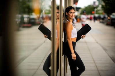 August 19, 2018, Boston, MA: Blogger Carolyn Pomeranz poses for a photograph at CorePower Yoga in Boston, Massachusetts Sunday, August 19, 2018. (Photo by Billie Weiss)