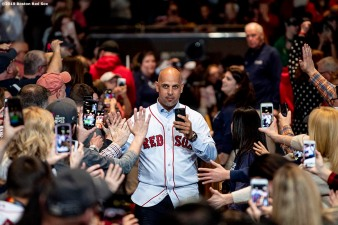 LEDYARD, CT - JANUARY 18: Manager Alex Cora of the Boston Red Sox is introduced at a Red Sox Town Hall during the 2019 Red Sox Winter Weekend on January 18, 2019 at Foxwoods Resort & Casino in Ledyard, Connecticut. (Photo by Billie Weiss/Boston Red Sox/Getty Images) *** Local Caption *** Alex Cora