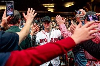 LEDYARD, CT - JANUARY 18: Andrew Benintendi #16 of the Boston Red Sox is introduced at a Red Sox Town Hall during the 2019 Red Sox Winter Weekend on January 18, 2019 at Foxwoods Resort & Casino in Ledyard, Connecticut. (Photo by Billie Weiss/Boston Red Sox/Getty Images) *** Local Caption *** Andrew Benintendi