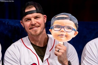 LEDYARD, CT - JANUARY 18: Brock Holt #12 of the Boston Red Sox displays a sign of his son Griff at a Red Sox Town Hall during the 2019 Red Sox Winter Weekend on January 18, 2019 at Foxwoods Resort & Casino in Ledyard, Connecticut. (Photo by Billie Weiss/Boston Red Sox/Getty Images) *** Local Caption *** Brock Holt