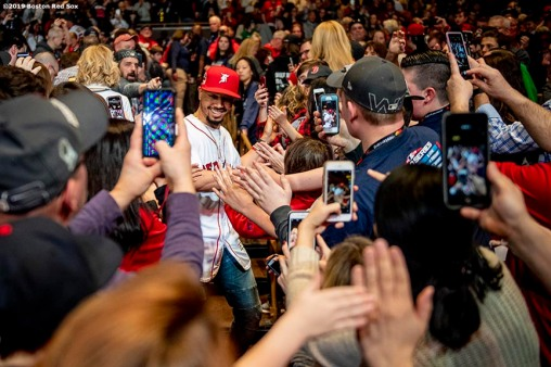 LEDYARD, CT - JANUARY 18: Mookie Betts #50 of the Boston Red Sox is introduced at a Red Sox Town Hall during the 2019 Red Sox Winter Weekend on January 18, 2019 at Foxwoods Resort & Casino in Ledyard, Connecticut. (Photo by Billie Weiss/Boston Red Sox/Getty Images) *** Local Caption *** Mookie Betts