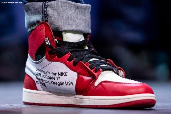 LEDYARD, CT - JANUARY 18: The shoes of Mookie Betts #50 of the Boston Red Sox are shown at a Red Sox Town Hall during the 2019 Red Sox Winter Weekend on January 18, 2019 at Foxwoods Resort & Casino in Ledyard, Connecticut. (Photo by Billie Weiss/Boston Red Sox/Getty Images) *** Local Caption *** Mookie Betts