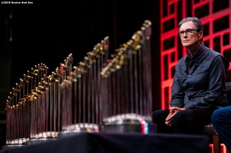 LEDYARD, CT - JANUARY 18: Principal Owner John Henry of the Boston Red Sox looks on with the 2004, 2007, 2013, and 2018 World Series trophies during a Boston Red Sox Town Hall during the 2019 Red Sox Winter Weekend on January 18, 2019 at Foxwoods Resort & Casino in Ledyard, Connecticut. (Photo by Billie Weiss/Boston Red Sox/Getty Images) *** Local Caption *** John Henry
