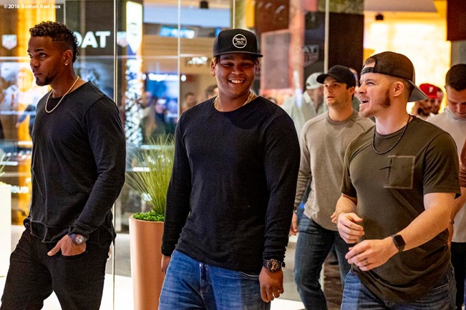 LEDYARD, CT - JANUARY 18: Xander Bogaerts #2, Rafael Devers #11, and Brock Holt #12 of the Boston Red Sox react during the 2019 Red Sox Winter Weekend on January 18, 2019 at Foxwoods Resort & Casino in Ledyard, Connecticut. (Photo by Billie Weiss/Boston Red Sox/Getty Images) *** Local Caption *** Xander Bogaerts; Rafael Devers; Xander Bogaerts